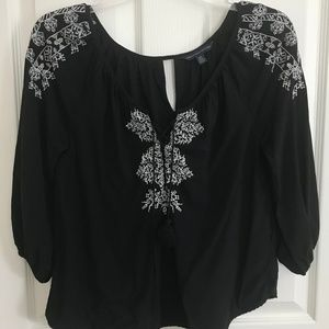 AEO Women's Black Embroidered Shirt with tassel
